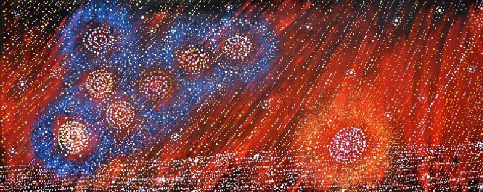 Yanjirlpirri or Napaljarri-Warnu Jukurrpa (Star or Seven Sisters Dreaming) - AGRWU882/14 by Alma Nungurrayi Granites
