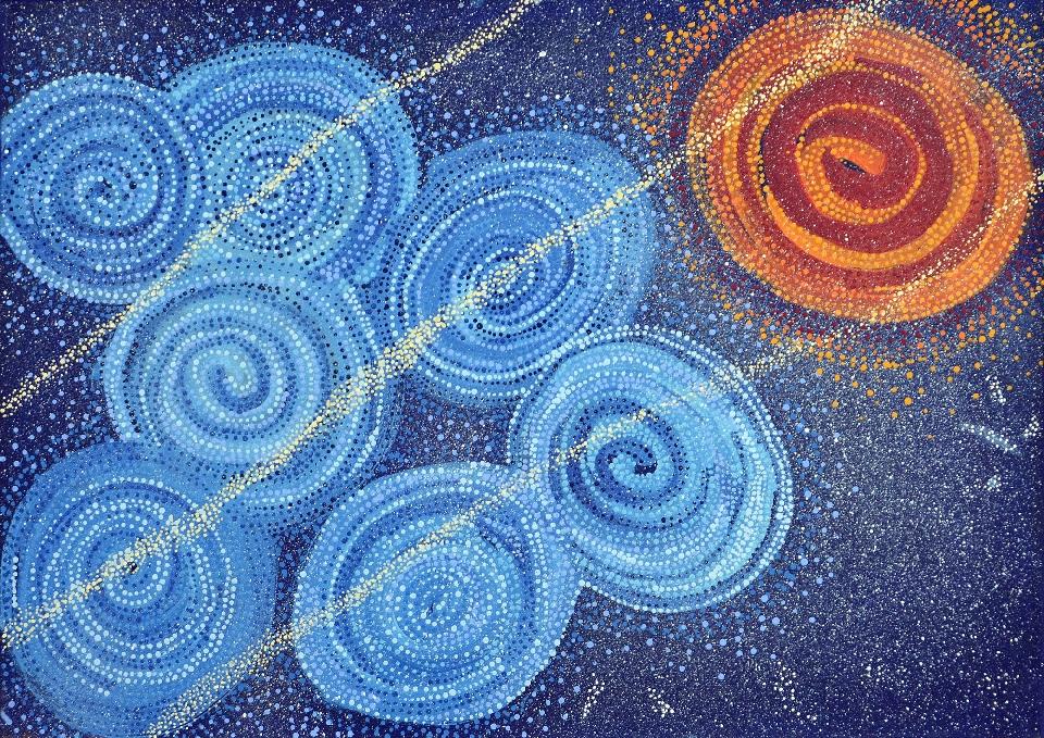 Yanjirlpirri or Napaljarri - warnu Jukurrpa (Star or Seven Sisters Dreaming) - ATGWU5565/18 by Athena Nangala Granites