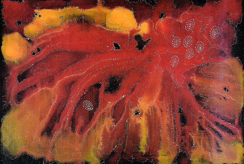 Napaljarri - warnu Jukurrpa (Seven Sisters Dreaming) - ATGWU76/21 by Athena Nangala Granites