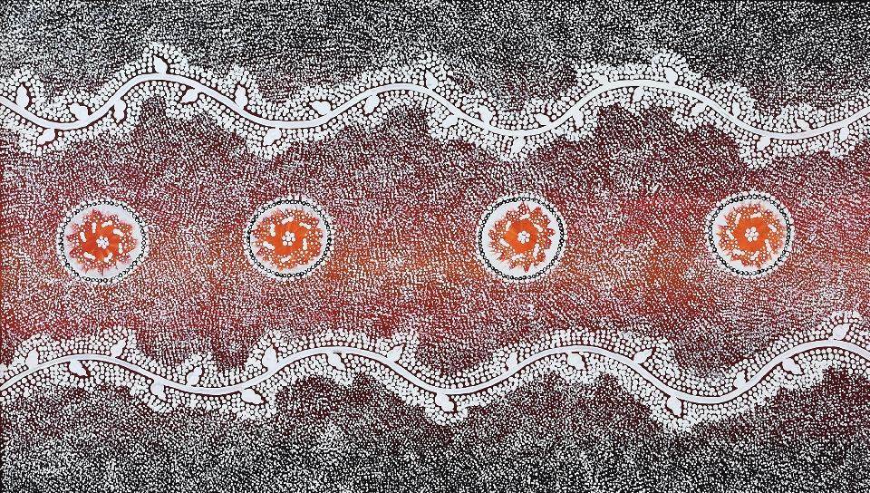 Yarla Jukurrpa (Bush Potato Dreaming) - Cockatoo Creek - BLGWU3862/18 by Bethany Nakamarra Langdon