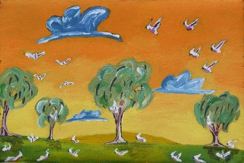 Jurlpu Kuja Kalu Nyinami Yurntumu-wana (Birds around Yuendumu) - CHGWU1497/19