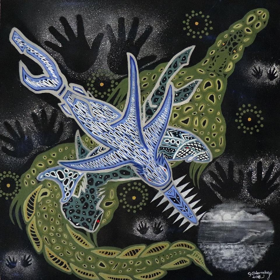 Tribal Warrior - GWALR18-348 by Geoffrey Warradoo