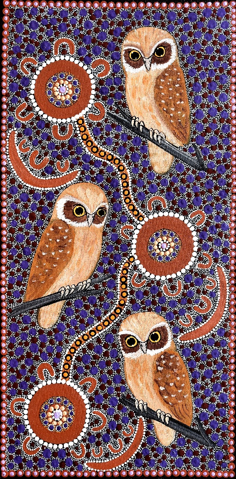 Families Sitting Around Campfire at Night Telling Stories About Owls - KBZG0574 by Kathleen Buzzacott