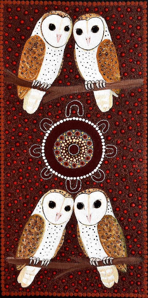 Family Sitting Around Campfire at Night Telling Stories About Owls - KBZG0575 by Kathleen Buzzacott