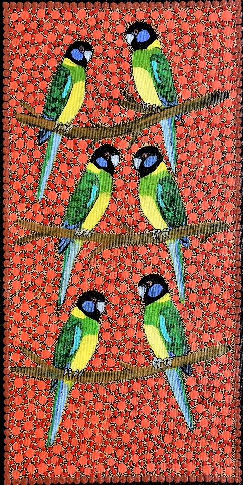 Ring Neck Parrots - KBZG0577 by Kathleen Buzzacott