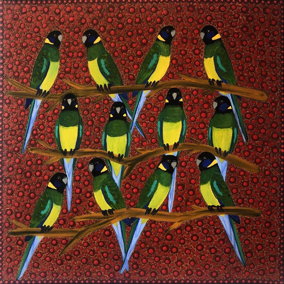 Ring Neck Parrots - KBZG0597 by Kathleen Buzzacott