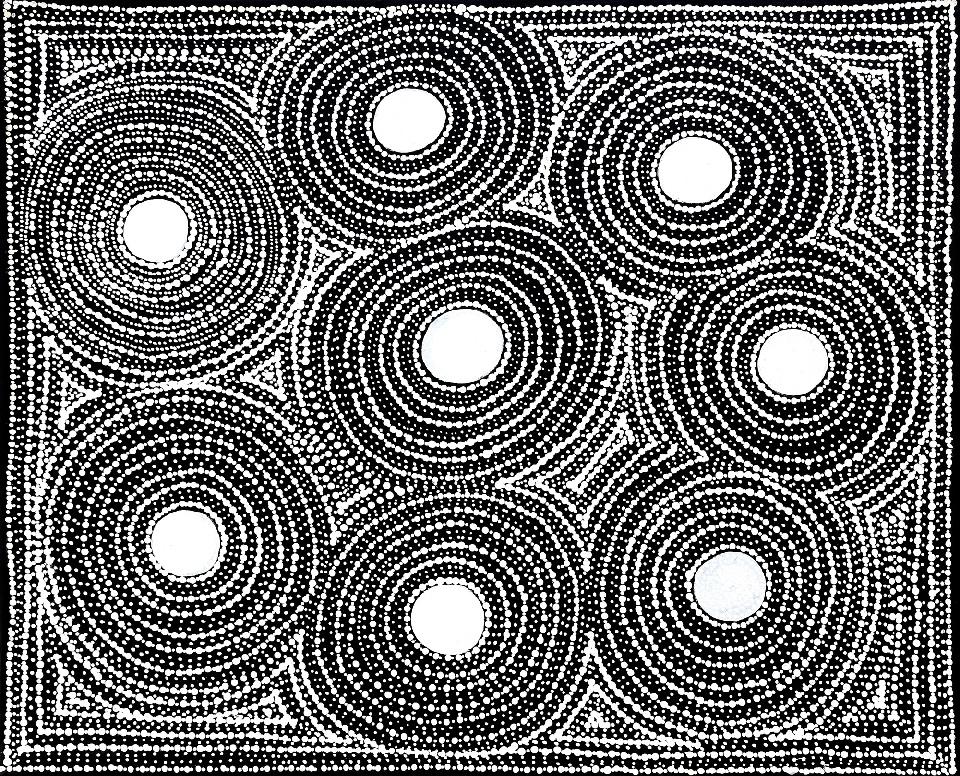 Watiya-warnu Jukurrpa (Seed Dreaming) - MJRWU223/21 by Marshall Jangala Robertson