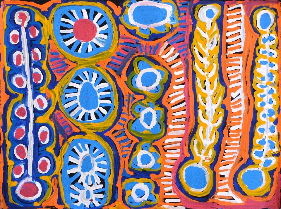 Malikijarra Jukurrpa (Two Dogs Dreaming) - MUMWU305/14ny by Murdie Nampijinpa Morris