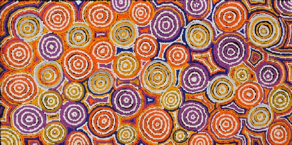 Ngapa Jukurrpa (Water Dreaming) - Puyurru - TNMWU348/14ny by Tina Napangardi Martin Robertson