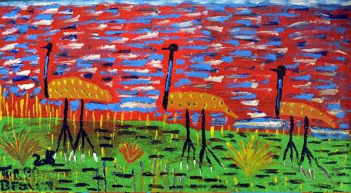 Three Emus at Sunset - TTBDD0046